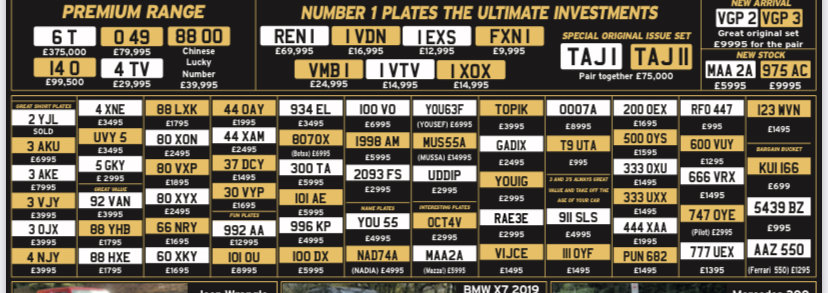 Picture of 1900 Amazing selection of selection of number plates flash sale For Sale
