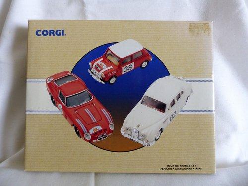 1960 CORGI TOUR DE FRANCE 3 CARS FERRARI, JAGUAR, MINI For Sale (picture 1 of 6)