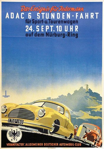A 1950 A.D.A.C. – 6 Stunden Fahrt Nürburg-Ring race poster For Sale (picture 1 of 2)