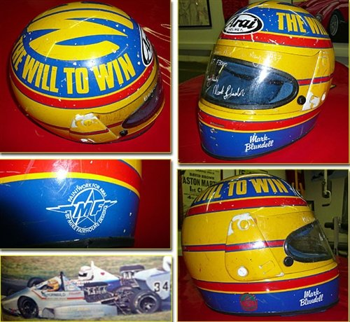 1987 Mark Blundell race used Helmet SIGNED For Sale (picture 1 of 1)