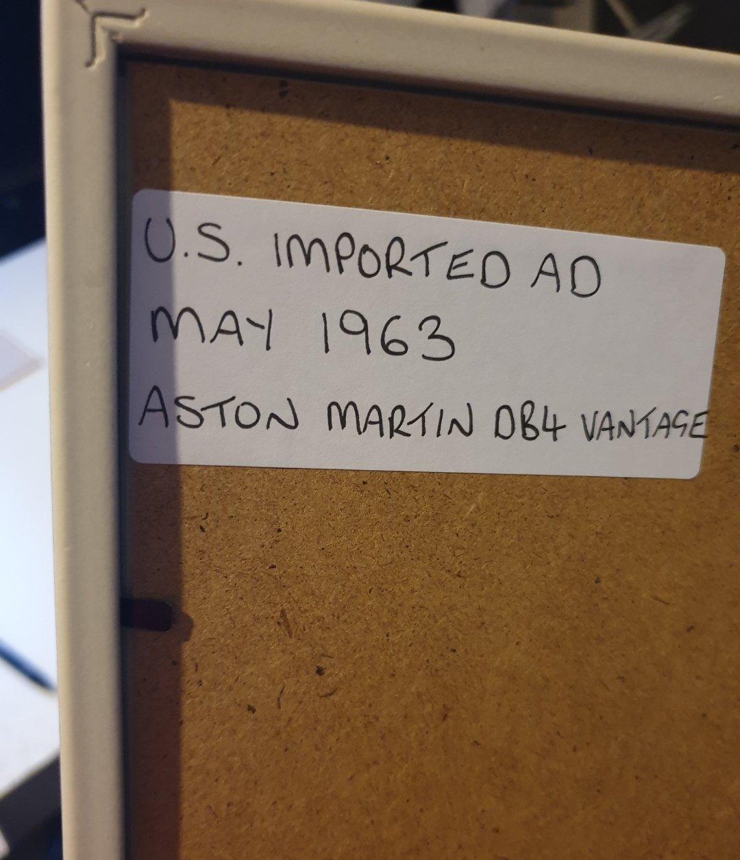 1963 Aston Martin DB4 Vantage Advert Original  SOLD (picture 2 of 2)