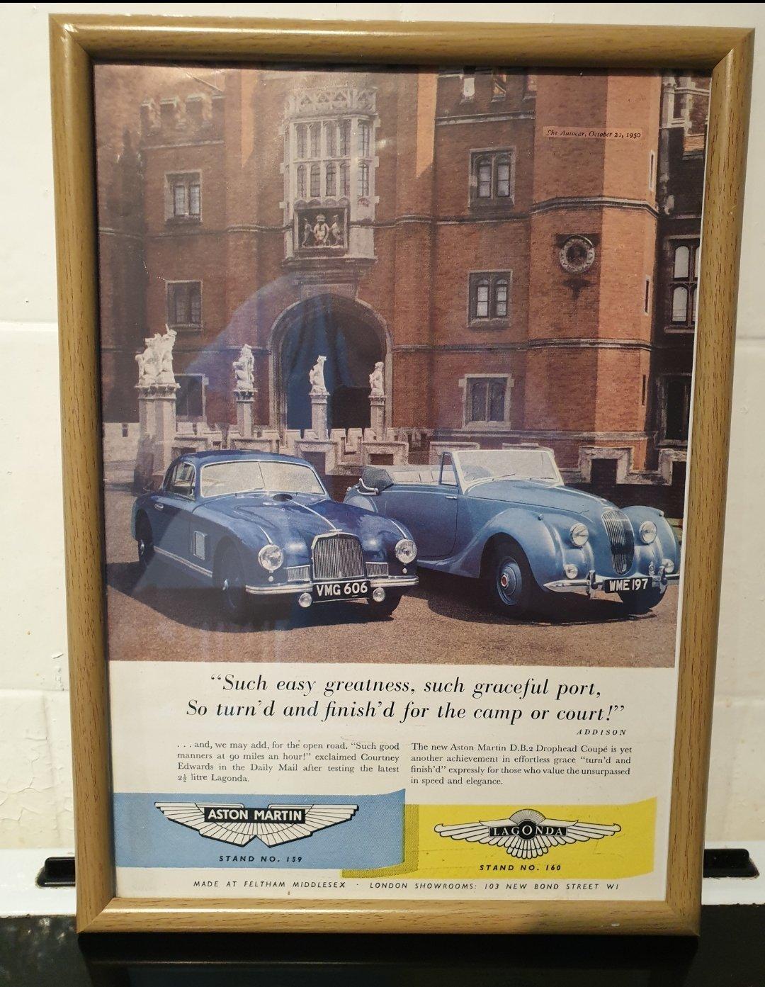 1950 Aston Martin and Lagonda Advert Original  For Sale (picture 1 of 2)