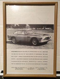 1959 Aston Martin DB4 Framed Advert Original