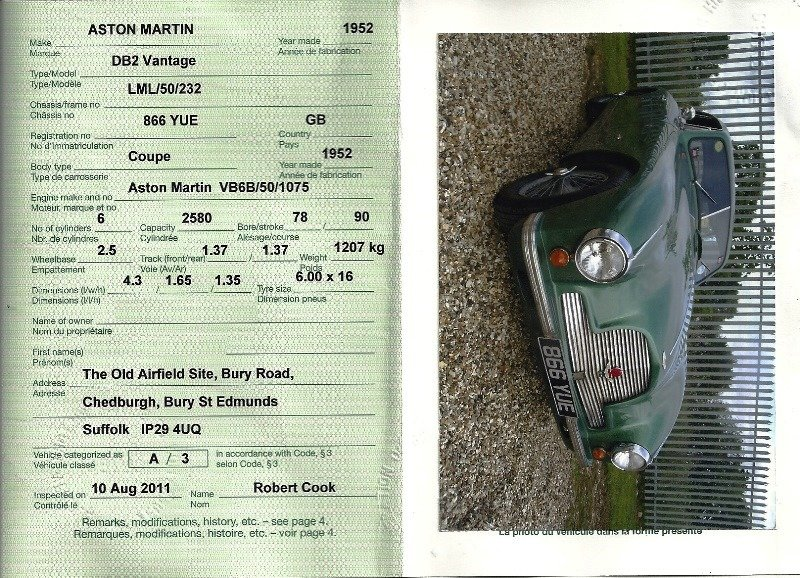 1953 ASTON MARTIN VANTAGE DB2 For Sale (picture 6 of 6)