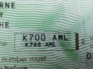 K700 aml private plate (aston martin lagonda)