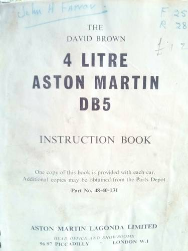1965 DB5 4litre instruction book - original'65 REDUCED For Sale (picture 2 of 5)