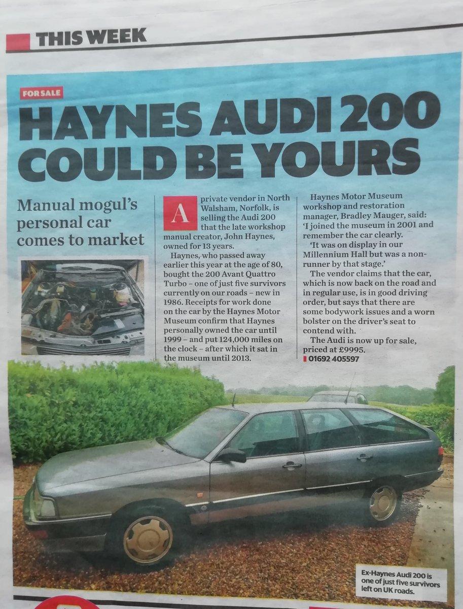 1986 Rare 200 Avant quattro turbo.ex John Haynes OBE For Sale (picture 1 of 6)