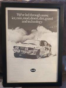 1985 Original Audi Quattro Framed Advert