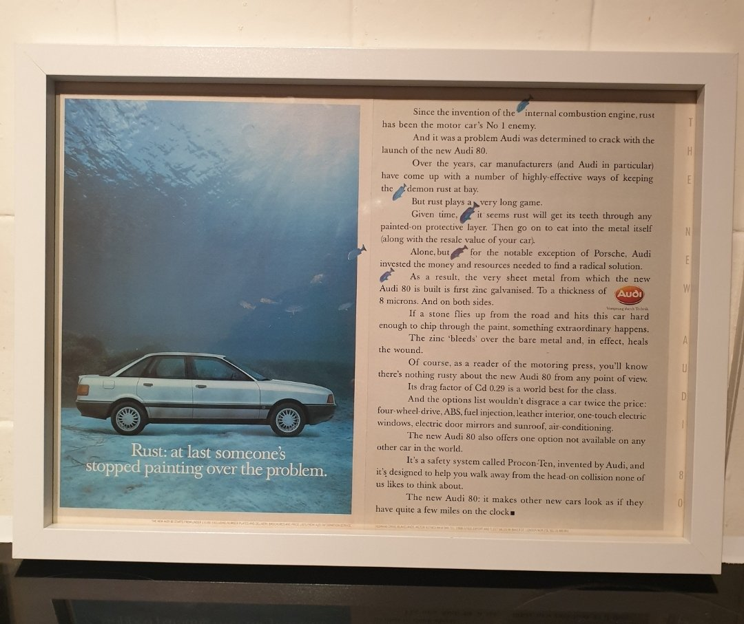 1987 Original Audi 80 Framed Advert For Sale (picture 1 of 2)