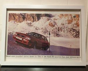 1992 Audi 80 Quattro Framed Advert Original