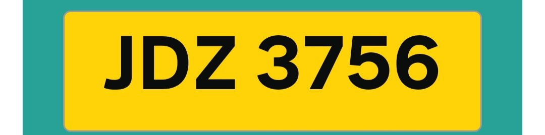 JDZ3756 number plate