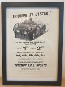 Original 1954 Triumph TR2 Framed Advert