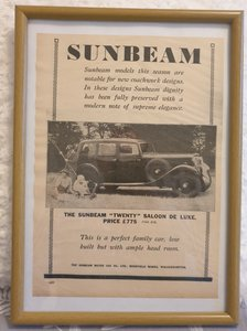 Original 1933 Sunbeam Twenty Framed Advert