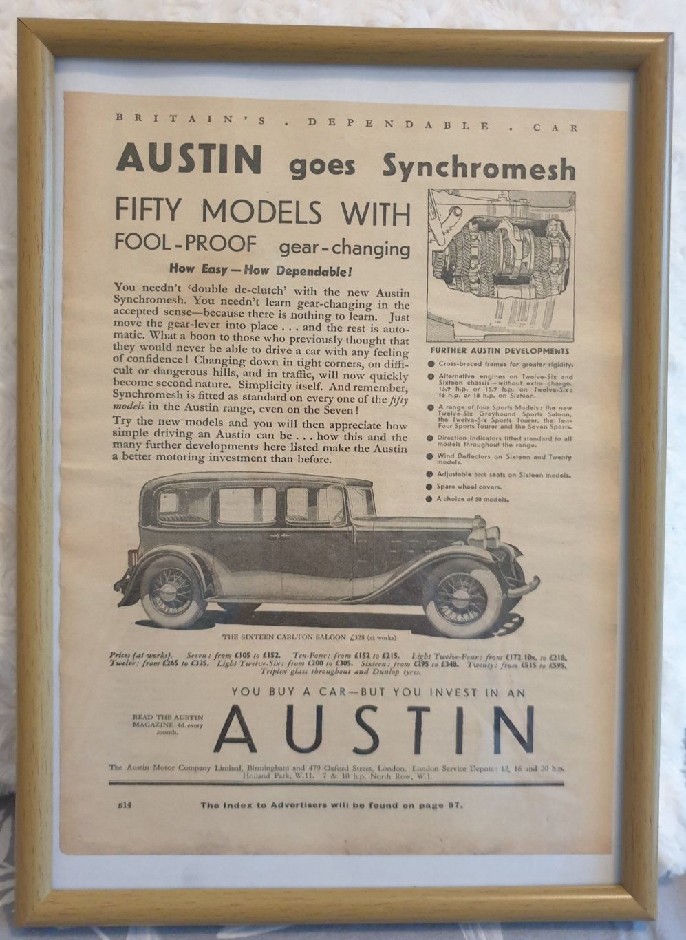 Original 1933 Austin Sixteen Framed Advert