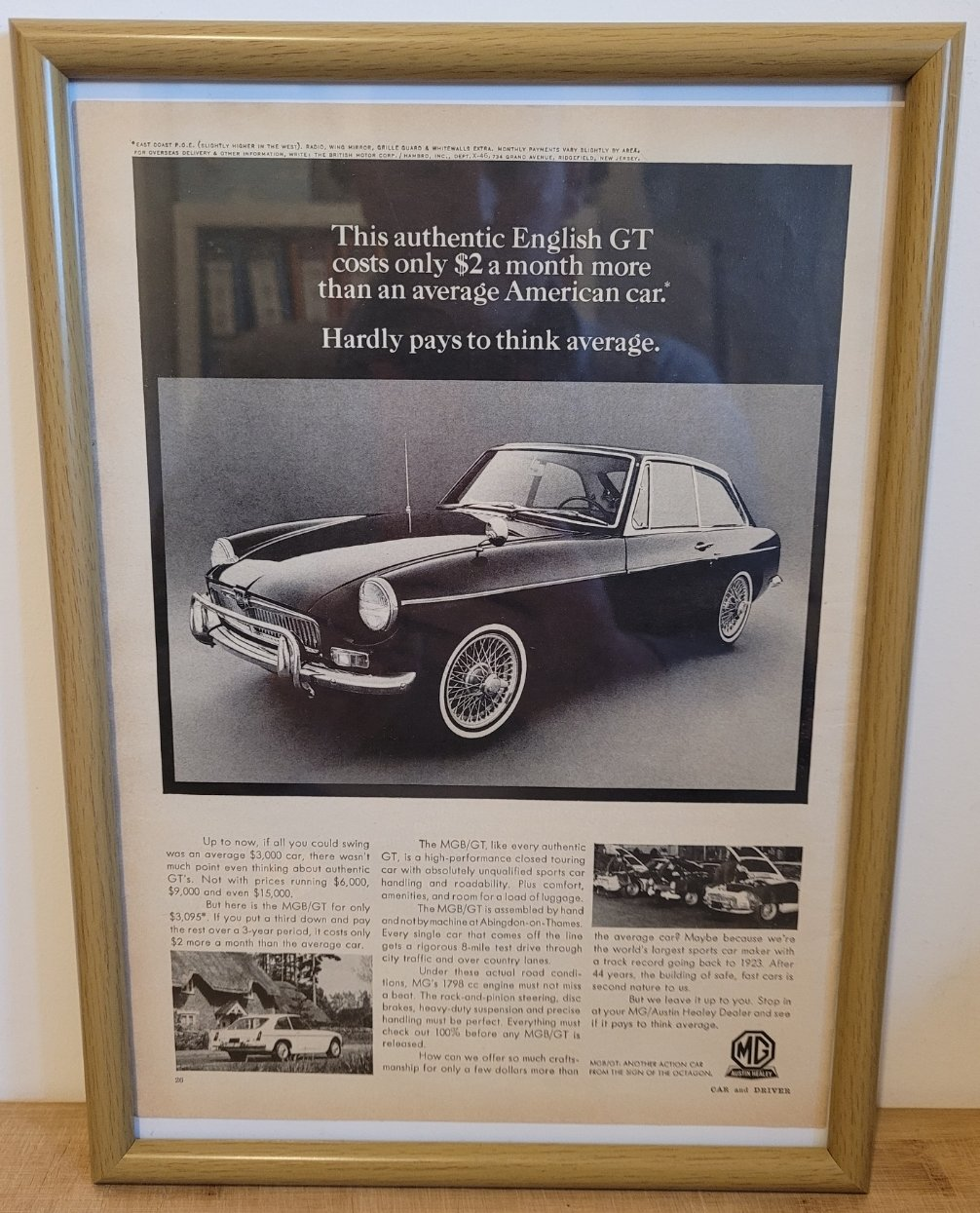 Picture of 1959 Original 1967 MGB GT Framed Advert For Sale