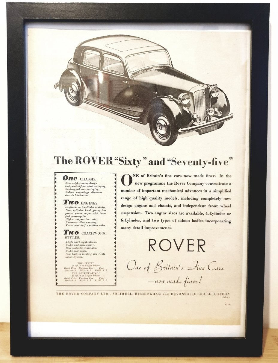 Picture of Original 1948 Rover P3 Framed Advert For Sale