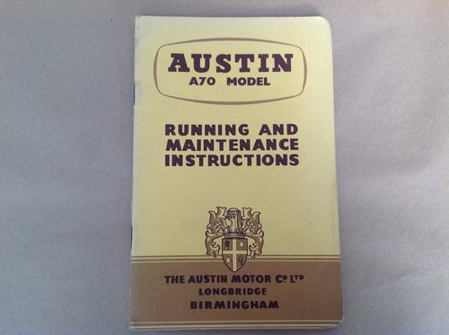 Austin A70 Handbook  For Sale (picture 1 of 2)