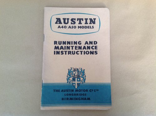 Austin A40 A50 Handbook For Sale (picture 1 of 2)