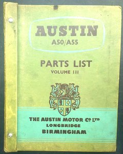 Genuine austin motor co a50/a55 parts list vol lll