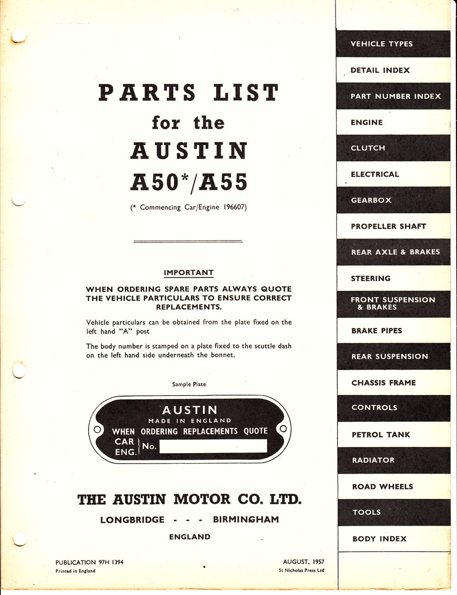 Genuine austin motor co a50/a55 parts list vol lll For Sale (picture 2 of 4)