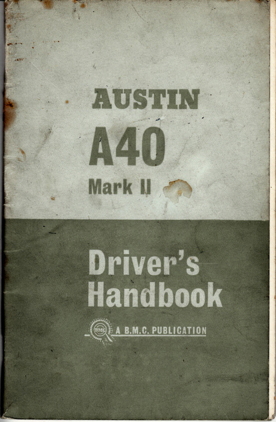 Official Austin A40 Mk ll Driver's Handbook 1963 For Sale (picture 1 of 1)