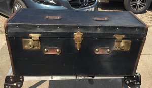RARE ANTIQUE FRENCH 1930'S SHAPED VINT CAR TRUNK