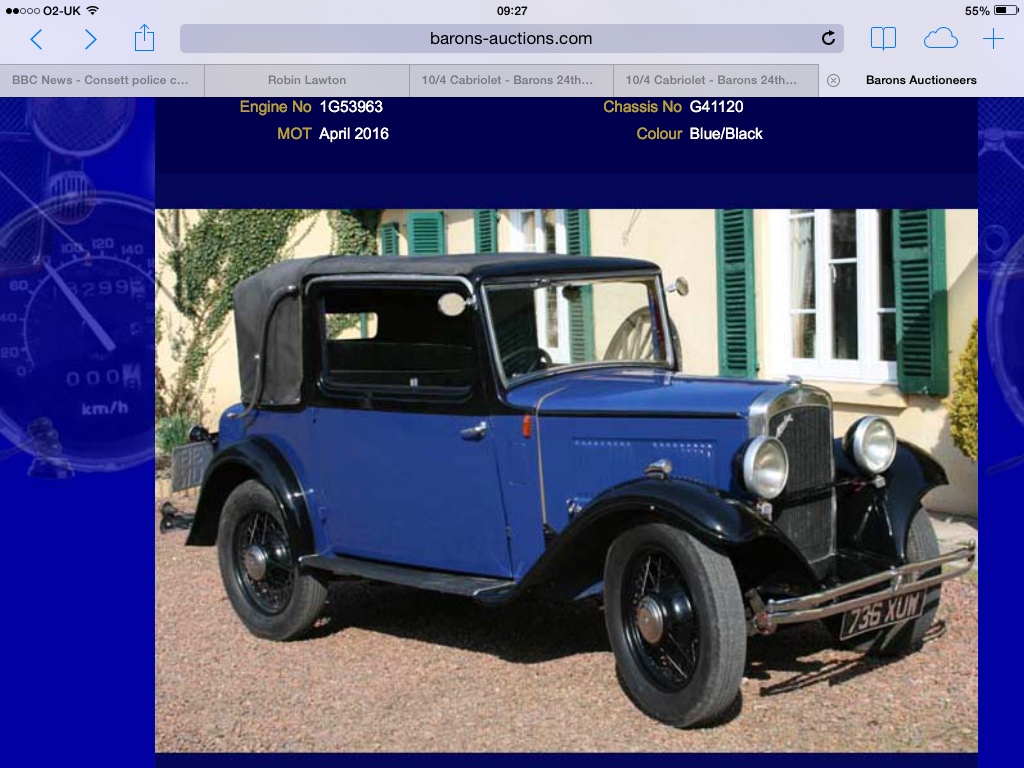 1934 Drop Head Austin For Sale (picture 4 of 5)