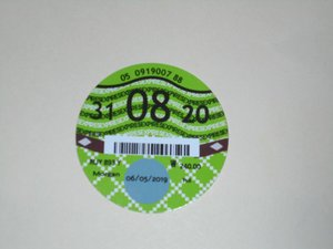 Road Tax Disc 2020. SOLD