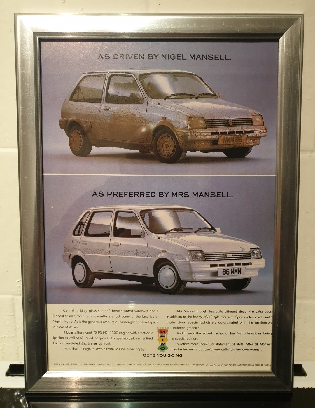 1988 Metro Framed Advert Original  For Sale (picture 1 of 2)