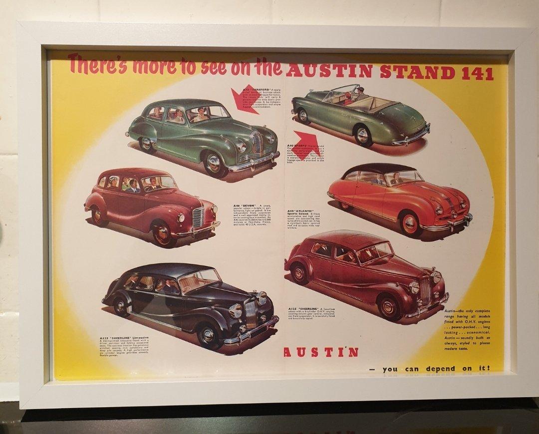 1950 Original Austin Framed Advert For Sale (picture 1 of 2)