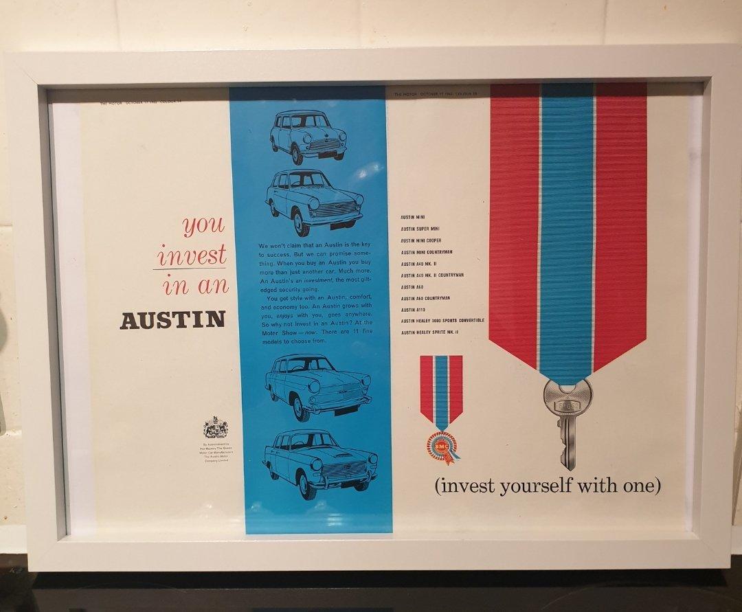 1962 Original Austin Framed Advert For Sale (picture 1 of 2)