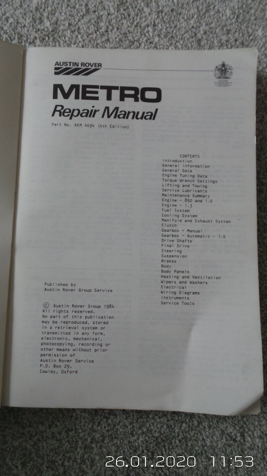 Original metro workshop manual SOLD (picture 2 of 3)