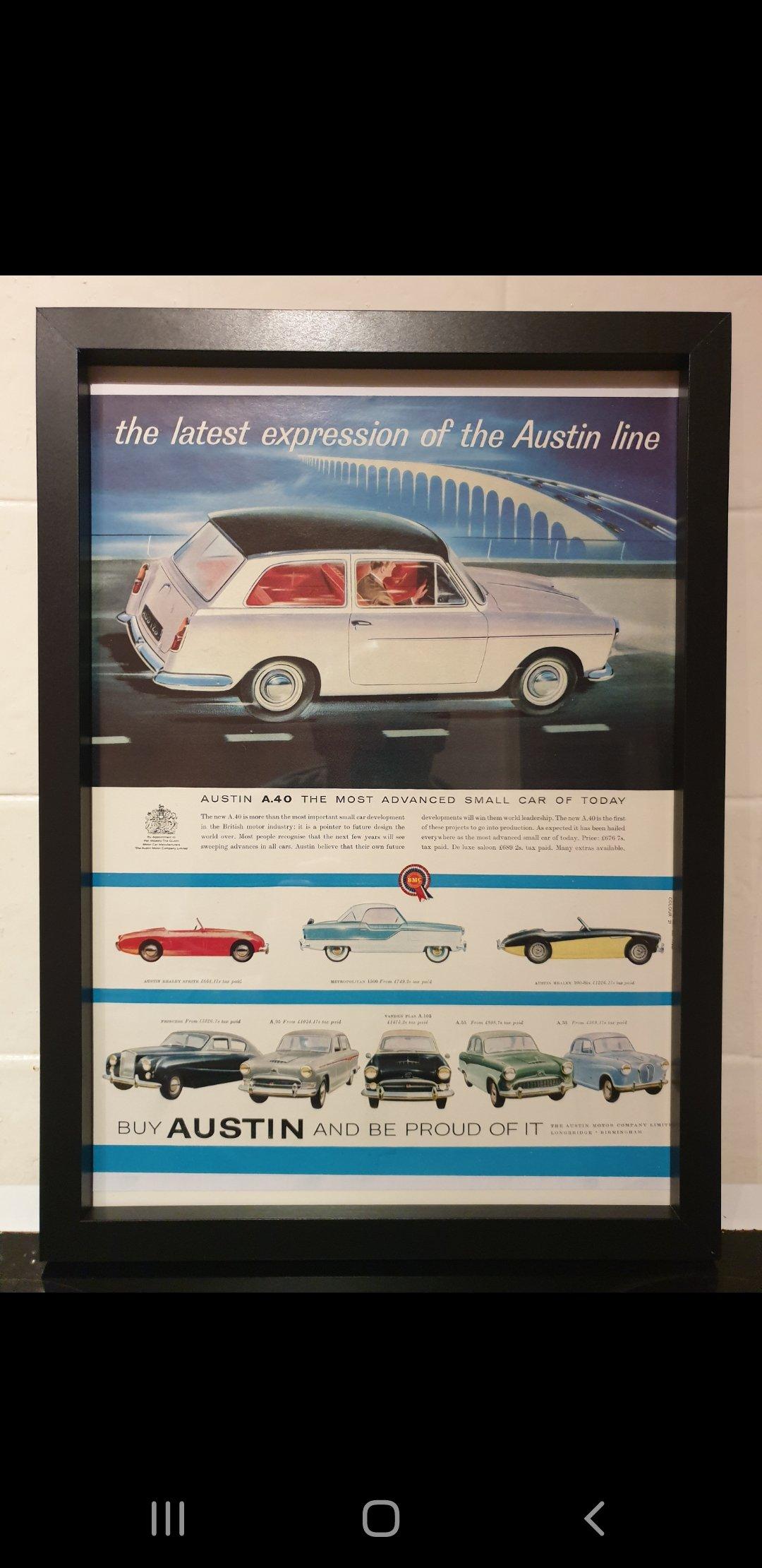1958 Austin A40 Framed Advert Original  SOLD (picture 1 of 2)