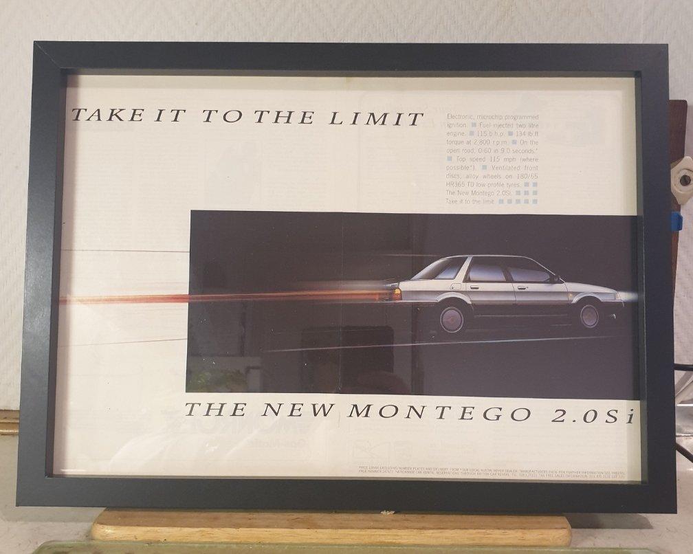 Original 1987 Montego Framed Advert For Sale (picture 1 of 2)