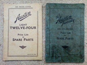 Austin 12/4 and 20/6 Price List of Spare Parts