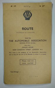 AA Route Boston to Ilfracombe 1950's