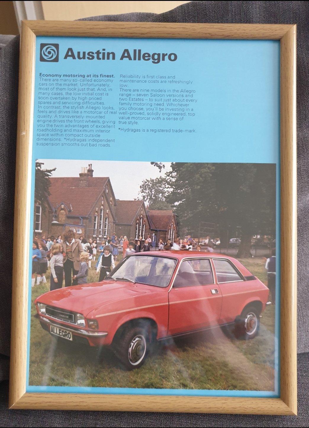 1978 Original Austin Allegro Framed Advert For Sale (picture 1 of 2)