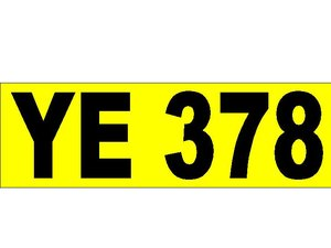 YE 378 Registration Plate Suit Early Car
