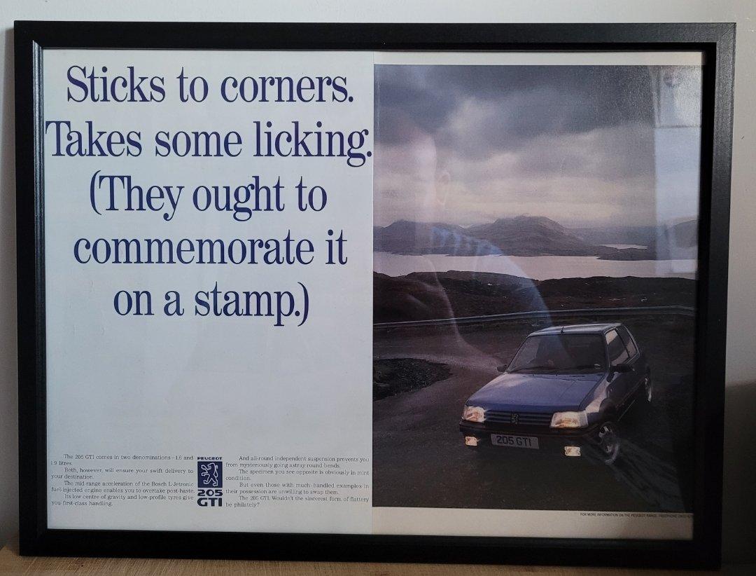 Picture of 1962 Original 1992 Peugeot 205 GTI Framed Advert For Sale