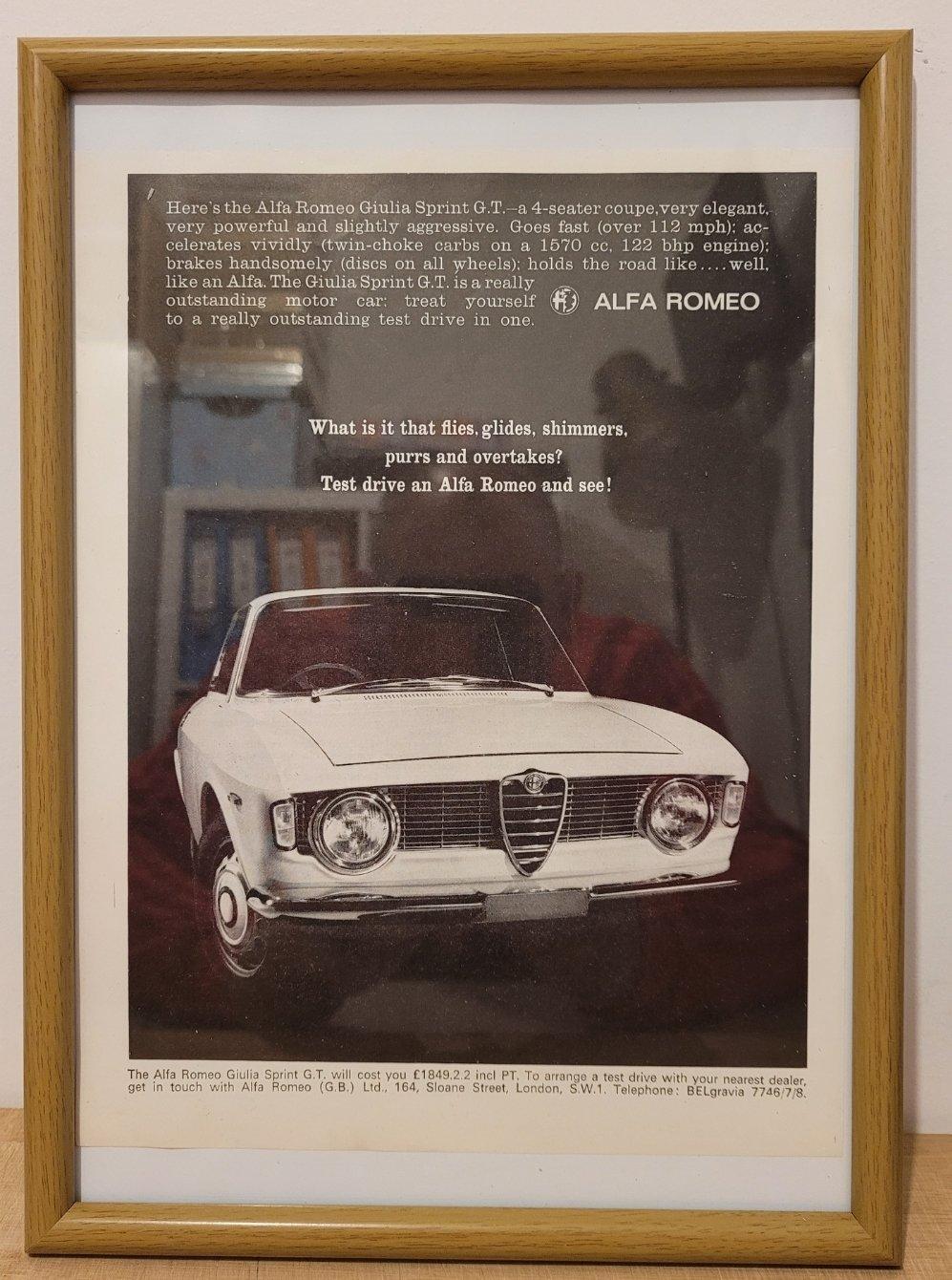 Picture of 1963 Original 1965 Alfa Romeo Giulia Sprint Framed Advert For Sale