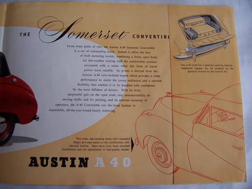 1954 AUSTIN A 40 SOMERSET CONVERTIBLE PAMPHLET SOLD (picture 3 of 5)