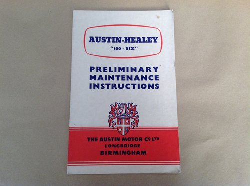 Austin Healey 'Six' Preliminary Maintenance Instructions  For Sale (picture 1 of 2)