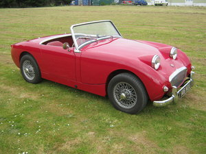 1959 AUSTIN HEALEY FROGEYE SPRITE. CHERRY RED, WIRES, 1275CC SOLD