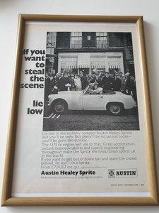 Original 1968 Austin Healey Sprite Framed Advert