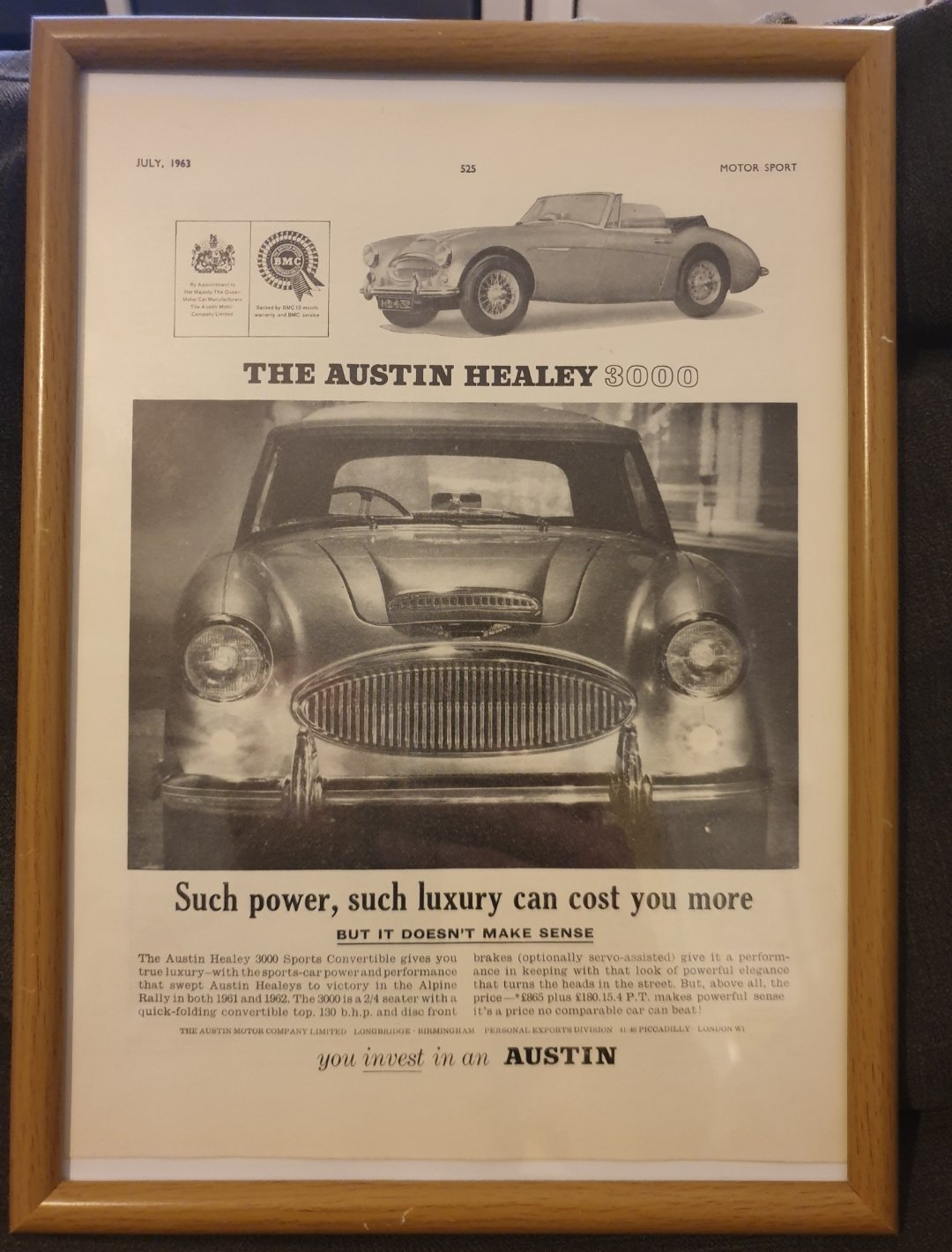Original Austin Healey 3000 Advert For Sale (picture 1 of 2)