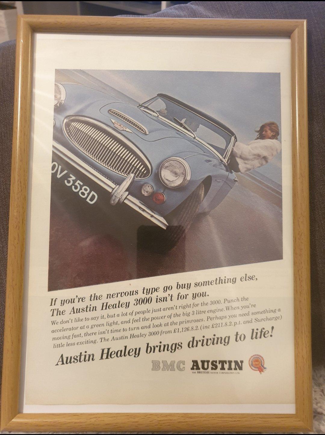 Original 1966 Austin Healey 3000 Framed Advert  SOLD (picture 1 of 2)