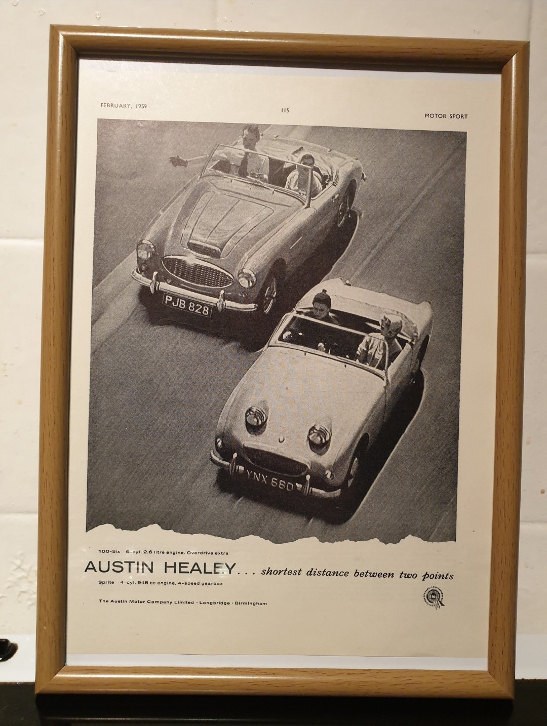 1959 Original Austin Healey Framed Advert For Sale (picture 1 of 2)