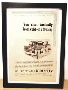 Original 1938 Wolseley Framed Advert