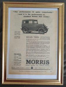 Picture of 1968 Original 1929 Morris Minor Framed Advert