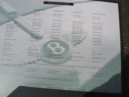 An Original Bentley sales Brochure for the above SOLD (picture 3 of 3)
